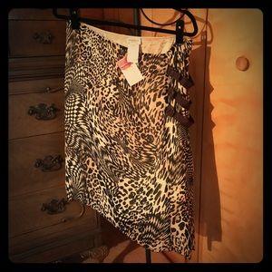 Motivi Italian Silk Skirt With Side Buckles EUC